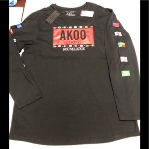 AKOO World flags black long sleeve T-shirt 4XL